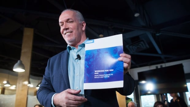 NDP Leader John Horgan holds a copy of the party's election platform during a campaign stop in Coquitlam, B.C., on Thursday April 13, 2017. A provincial election will be held on May 9.
