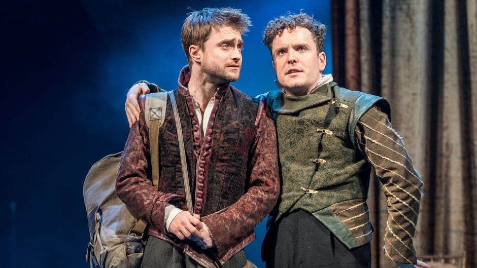 Actors Daniel Radcliffe and Josh McGuire star in the National Theatre Live production of Rosencrantz and Guildenstern Are Dead.
