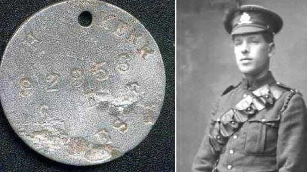 Canadian Gunner Harold Kerr died in battle June 26, 1917, near Amiens, France. Kerr's great niece, Cynthia, recently discovered an online post from a man who said he had found Kerr's dog tags.