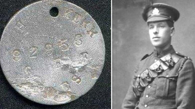 Canadian Gunner Harold Kerr and his dog tag