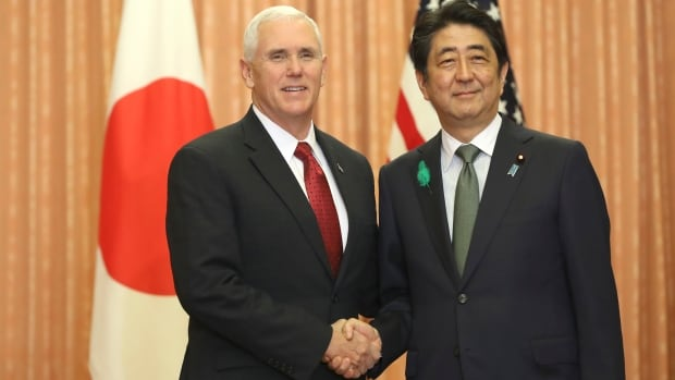 Image result for images of Mike Pence and Abe Shinzo