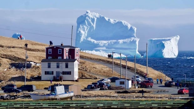 The view of the iceberg from Ferryland on Newfoundland's Southern Shore on Sunday. Traffic on the highway was at a standstill as people have been stopping to take photos with the iceberg.