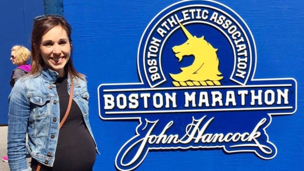 Julie McGivery, who is 32 weeks pregnant, crossed the finish line at the Boston Marathon on Monday. She said she received her official acceptance letter to the famed race on the same day she found out she was having a second child.