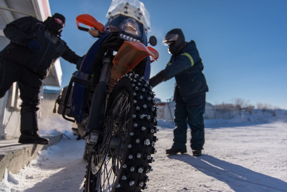 Ice road by motorcycle