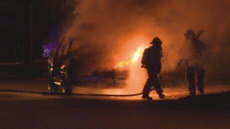 Burlington car fire