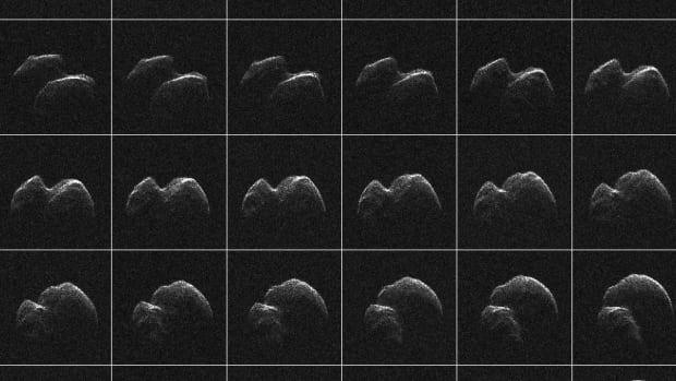These composite images of asteroid 2014 JO25 were generated with radar data collected using NASA's Goldstone Solar System Radar in California's Mojave Desert.