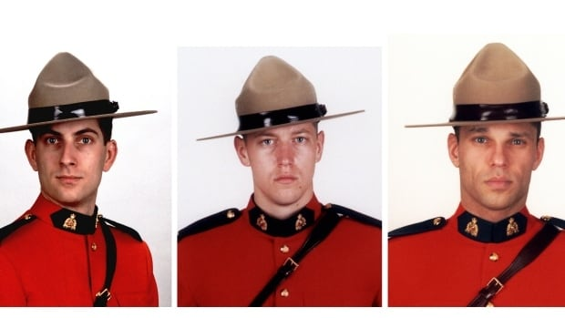 Constables, left to right, Douglas James Larche, 40, from Saint John, Const. Dave Joseph Ross, 32, from Victoriaville, Que., and Const. Fabrice Georges Gevaudan, 45, from Boulogne-Billancourt, France, were killed in Moncton by Justin Bourque.