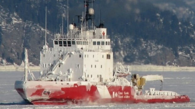 The CCGS Terry Fox is working to clear ice in the Strait of Belle Isle.