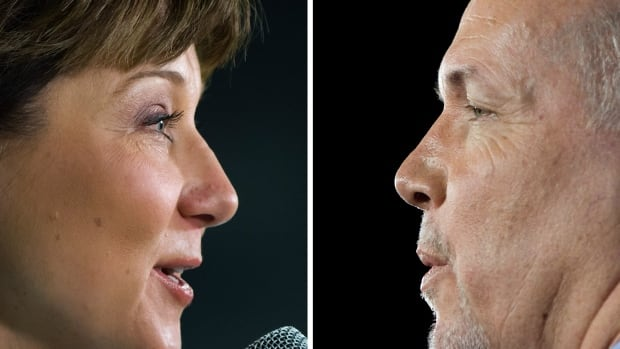 In this composite image, made from two photographs, Liberal Leader Christy Clark, left, and NDP Leader John Horgan are seen while speaking during campaign stops in Port Coquitlam and Vancouver, B.C., on Wednesday, April 12, 2017.