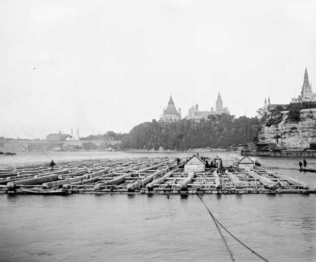J.R. Booth timber raft ottawa river 1900 -1905