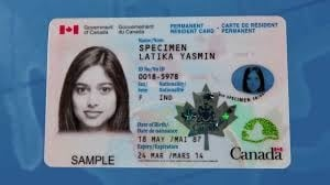 Example of a Canadian permanent resident card