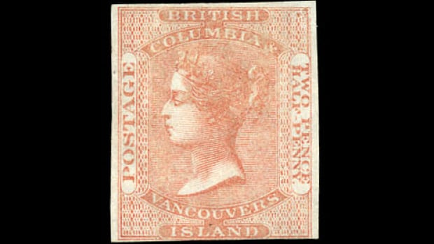 This 1860 Vancouver Island stamp could fetch up to $15,000 at auction.