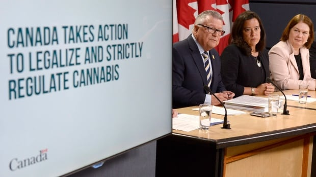 Minister of Public Safety and Emergency Preparedness Ralph Goodale, left to right, Justice Minister and Attorney General of Canada Jody Wilson-Raybould, and Health Minister Jane Philpott announce changes regarding the legalization of marijuana during a news conference in Ottawa, April 13, 2017.