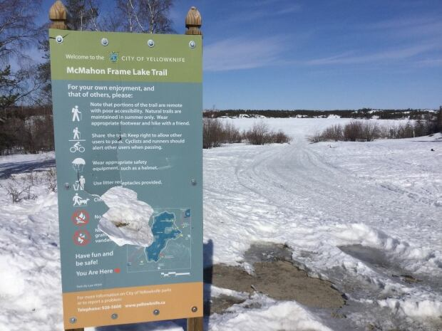 Frame Lake Trail sign
