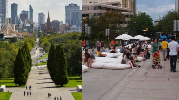 Swanston Street in Melbourne (left) and Robson Street in Vancouver (right). City-making columnist Brent Toderian compares the two cities ranked in the top three most liveable places in the world.
