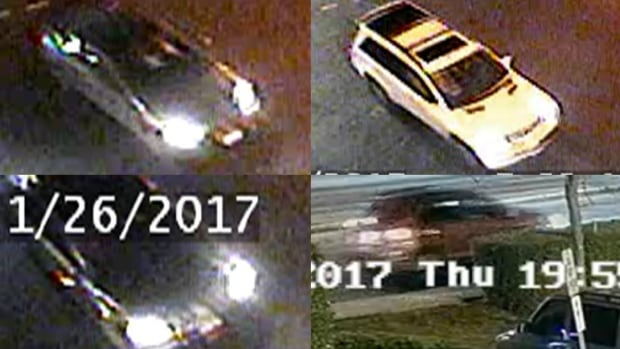 Coquitlam RCMP released these security camera images of four 'vehicles of interest' Thursday in relation to a January hit and run that killed a 51-year-old man.