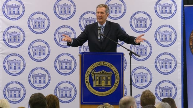 Brian Pallister gave his state of the province address at a lunch event hosted by the Brandon Chamber of Commerce on Thursday.