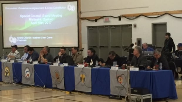 Cree leaders gathered at an all-day special council board meeting Wednesday in Mistissini to discuss the proposed Cree constitution and governance agreement.