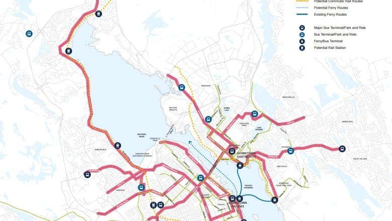 Halifax Transit Map New HRM transit plan shows commuter trains on both sides of
