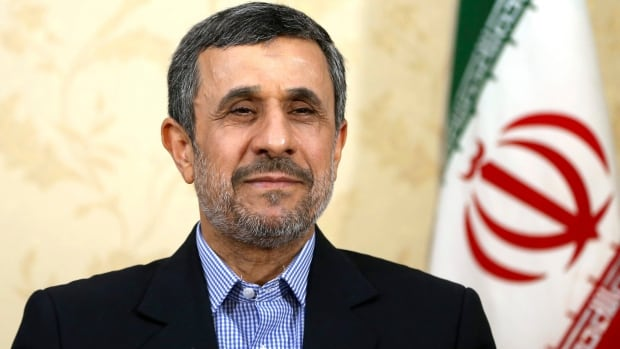 Former president Mahmoud Ahmadinejad gives an interview to The Associated Press at his office in Tehran earlier this month. Iranian state TV said Thursday that the body charged with vetting candidates has disqualified Ahmadinejad from seeking a third term as president.