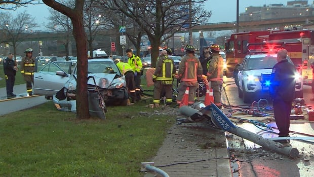 A driver was extricated from his vehicle after hitting a pole on Lake Shore Boulevard West this morning.
