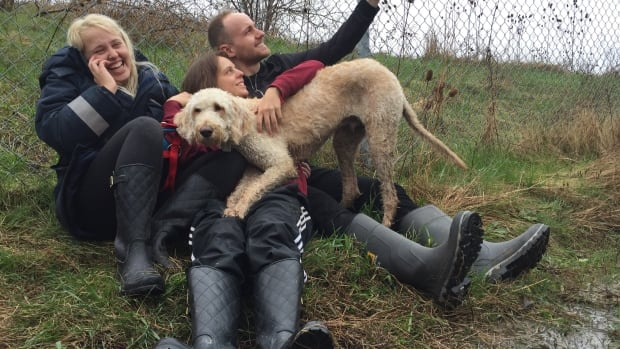 Cooper the lost dog was put on a wrong WestJet flight that landed in Hamilton, but was found early Friday and reunited with owner Terri Pittman.