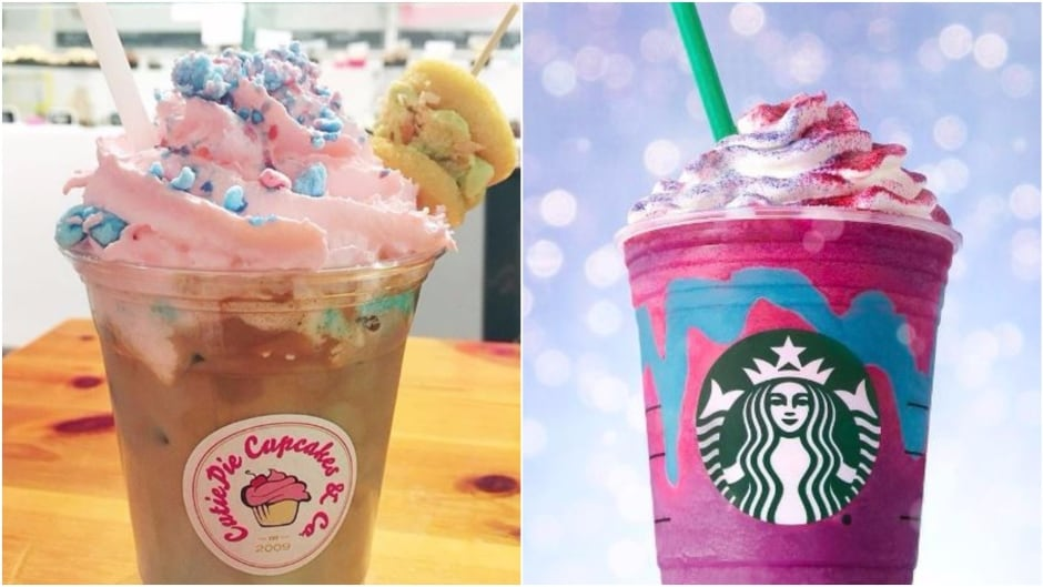 The unicorn latte, left, has been available at Toronto's  CutiePie Cupcakes & Co. since last summer. Starbucks unveiled its popular unicorn frappucinno, right, this spring.