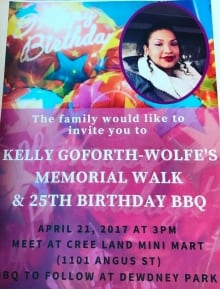 Kelly Goforth memorial walk poster