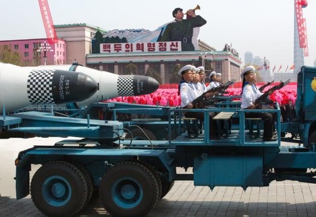 North Korean missiles on parade