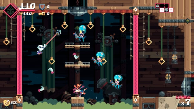 Taking cues from the classic game Bionic Commando, Captain Flinthook can fling himself around his environment with a grappling hook.