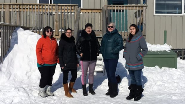 The founding members of the Ivvavik day care. From left to right, Panikuluk Kabluitok, Stephanie Lachance, Susanne Misheralak, Lucy Maynard, and Sandi Vincent