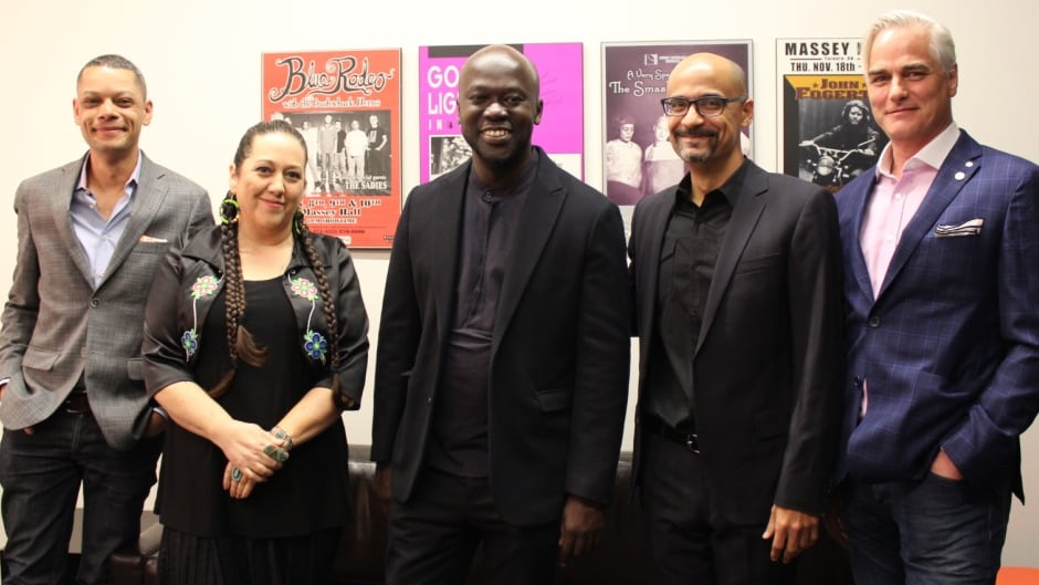 CBC's Metro Morning host Matt Galloway (far left) moderated the Creative Minds debate on Friday night, featuring (left to right) artist Christi Belcourt, architect Sir David Adjaye, author Junot Diaz, and filmmaker Paul Gross.