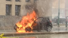 A car went up in flames on Main Street Saturday.