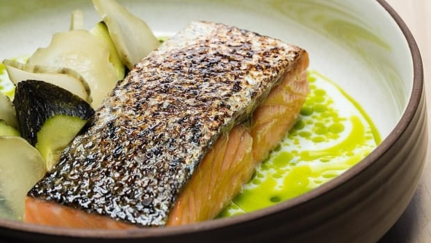 """The """"perfectly cooked"""" salmon with charred cucumber, buttermilk and dill was a highlight of Campbell's recent visit to ALTA."""