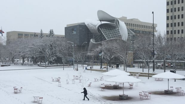 A wintery scene in Churchill Square on Sunday morning.