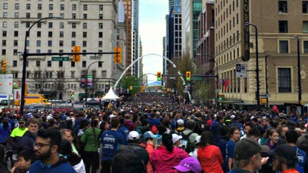 Thousands of runners — and walkers! — lined up along W Georgia Street early Sunday morning.