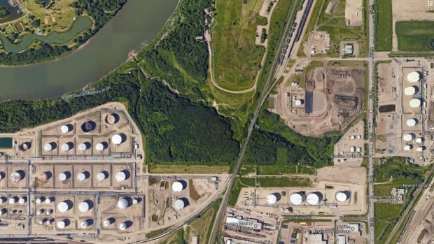 Crude oil spilled into an unnamed creek in Strathcona County Saturday, near an industrial area around 17th Street and Baseline Road.