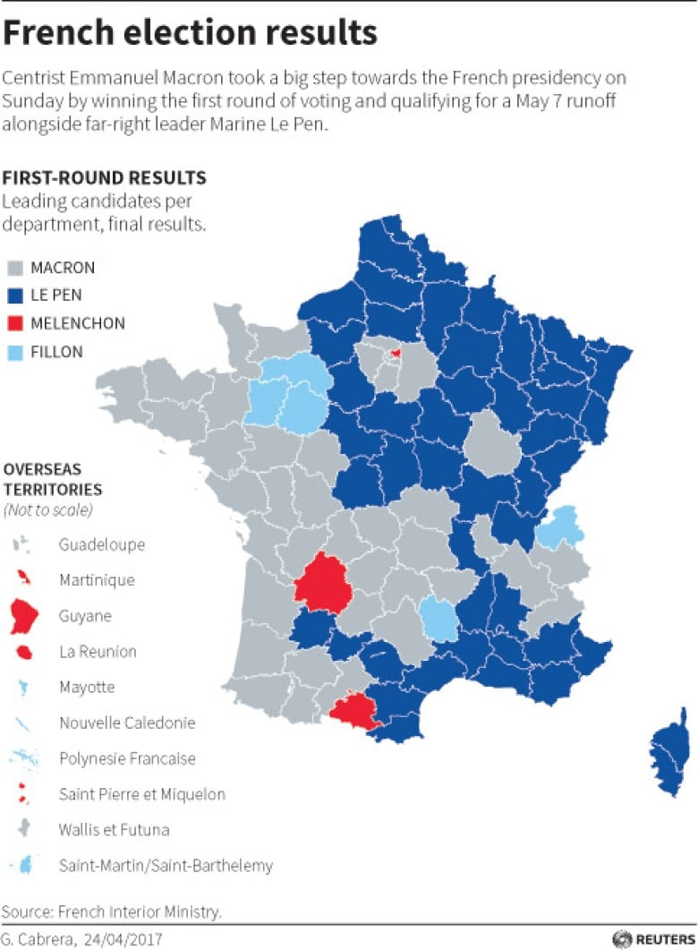 Map Of France Kisses.French Voters Choose Change But What Type Cbc News