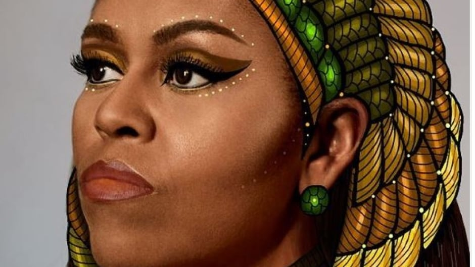 This portrait of Michelle Obama as an Egyptian queen was painted by Gelila Mesfin, an Ethiopian art student in New York.