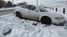 snow covered car in ditch