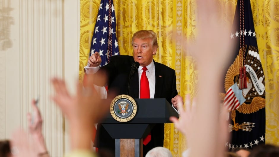 U.S. President Donald Trump takes questions during a news conference at the White House in Washington on Feb. 16, 2017.