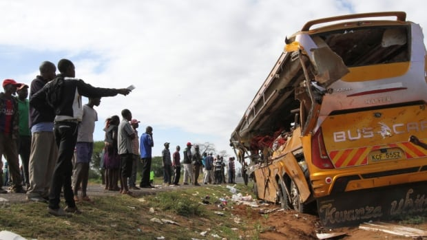 27 people killed in bus-trailer truck collision in Kenya