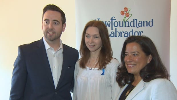 A new sexual assault response pilot program was announced in St. John's Tuesday. Among those on hand were, from left, Newfoundland and Labrador Justice Minister Andrew Parsons, Bev Moore-Davis of the Miles for Smiles Foundation, and federal Justice Minister Jody Wilson-Raybould.