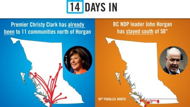 An online image created by the B.C. Liberal party to highlight the different campaigning strategies of Christy Clark and John Horgan in the first two weeks of the 2017 B.C. election.