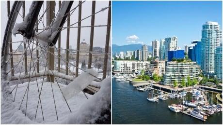 Winnipeg snow vs Vancouver green