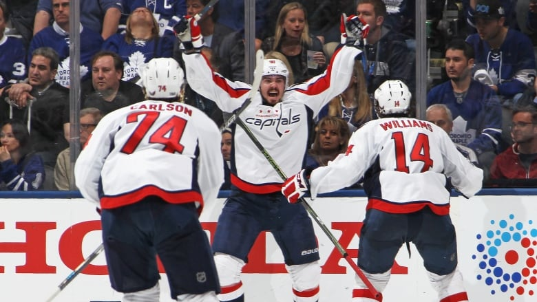 Washington s Marcus Johansson (90) celebrates his overtime-winning goal in Game  6 against the Maple Leafs on Sunday. With five of their playoff games going  ... 85ab6b2437af
