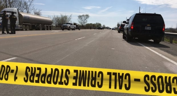 Collision damages line-painting vehicle