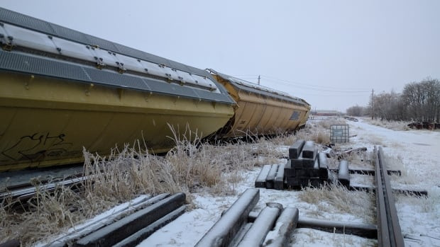 The rail crossing at Maureen Street in Thunder Bay remains closed after a cargo train derailed there on Wednesday.