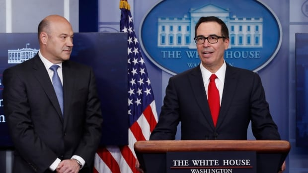 Treasury Secretary Steven Mnuchin, joined by National Economic Director Gary Cohn, speaks Wednesday in the briefing room of the White House about President Donald Trump's tax plan.