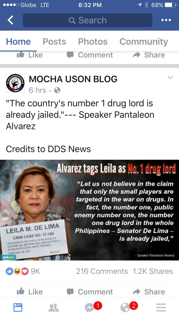 Mocha Uson blog post about Senator de Lima